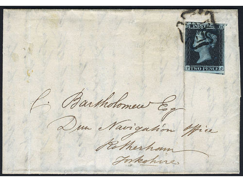 Britain. Michel 4b cover, 1841 Queen Victoria, with line under Postage 2 d deep blue, watermark small crown. (SG15) on cover. Tied by black Malteser Cross. The stamp has three clear margins and slightly cut into the picture to the left.
