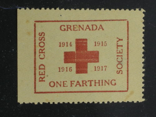 Grenada. Miscellaneous (*), 1917 Red Cross label ONE FARTHING.
