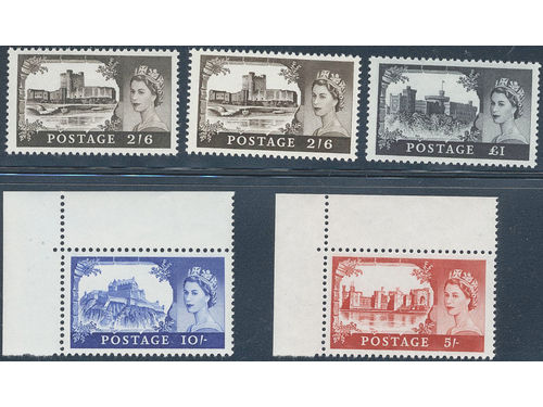 Britain. Michel 335-38 I **, 1959 British Castles SET watermark Multiple Crown, De La Rue printing (4). Also Mi477-480 cpl. EUR 240