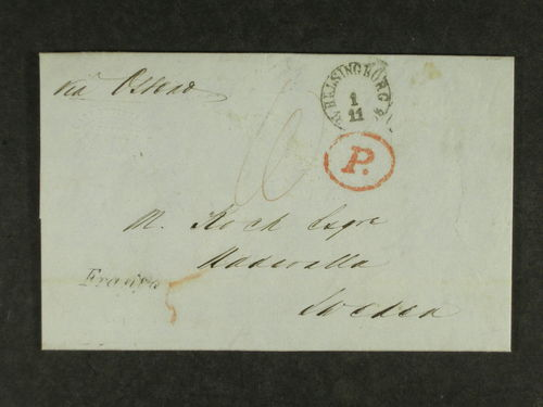 Britain. Letter, with contents, sent from OLDHAM (UK) to UDDEVALLA 1858. A full description of the item, the mail route and the contents are enclosed and ca be studied on the web. A number of transit cds on the back side of the item.