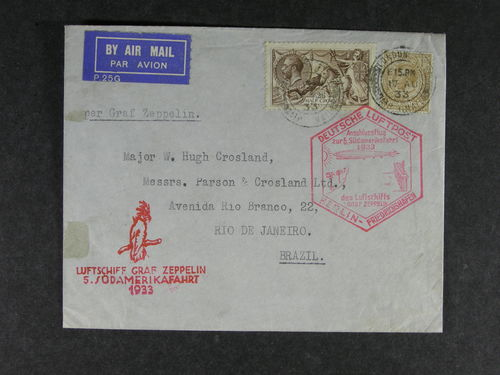 Britain. Michel 141 III, 140 cover, Air Mail Zeppelin cover  sent to Brazil 1933 from London with red Anshlussflug zur 5. Südamerikafahrt 1933 cancel. Arr cds on back side.