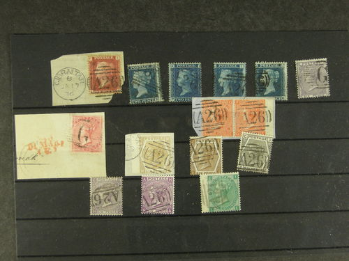 Gibraltar. Used. Great Britain 19th century issues, 6 line-engraved and 9 surface-printed, showing Gibraltar usages, including 1d red on piece and 2d blue plates, 1855/57 4d on piece and 6d with 'G' postmarks, 1865/73 4d vermilion wing-margin pair on piece tied by 'A26', wing-margin 1872 6d pale buff similarly tied on piece, etc. A most attractive group in superb quality. Far scarcer than their GB counterparts.