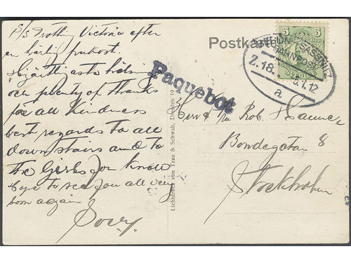 Sweden. Facit 79. GERMANY, . German cancellations BERLIN-SASSNITZ BAHNPOST Z.18 5.1.12 and PAQUEBOT on postcard dated on board