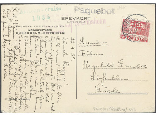 Sweden. Facit 235A. PORTUGAL, . Portuguese cancellation FUNCHAL 23.ABR.35 and PAQUEBOT, M/S GRIPSHOLM and AFRICAN - CRUISE 1935 on postcard sent to Gävle.