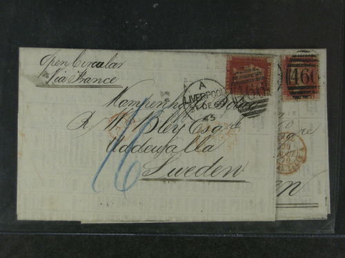 Britain. Cover. 2 printed matter 1869-70 to Sweden via France. Note : Open circular. due notes etc.