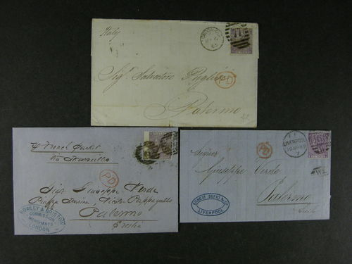 Britain. Cover. 3 covers 1865 - 69 with 6d lilac to Italy. Fine quality. (3)