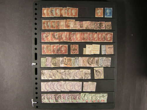 Britain. **/*/¤. Accumulation of well over 1000 mint and used stamps from classics to 1960s, including much line-engraved with imperf reds and 2d blue lines, reverse advertising, early surface-printed to 1/- incl. specimen overprints (faults) on 1d Venetian red and 21/2d blue, later QV with many 1/- values, official ovpts, KEVII again with several 1/- types, KGV inverted watermarks, KGVI to £1 with much mint, etc, as well as an interesting range of back of the book. Quality varies yet the vast majority very presentable with some unusual material, will catalogue £10,000+++.