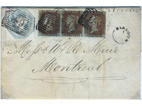 Britain. Michel 7, 3, Ie cover, 1847 Queen Victoria, embossed issue 1 sh pale green and strip of three of 1 p orange-brown on bluish paper (colours a bit oxidised) on cover from Glasgow to Montreal, Canada (1849).