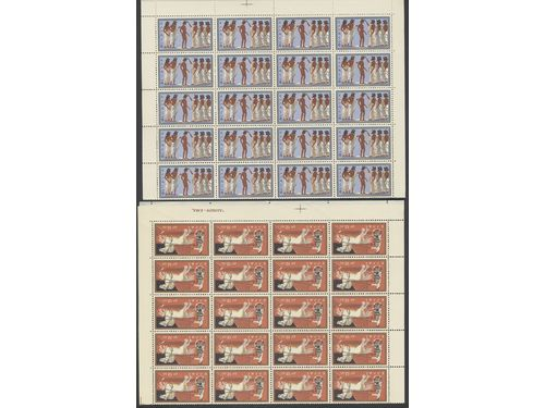 Greece. **. Binder with ** sets mostly in units/sheets 1957-64 incl. e.g. 60 sets each Mi706-12, 734-44 and 765-72 etc. Mi > 8500 Euro.