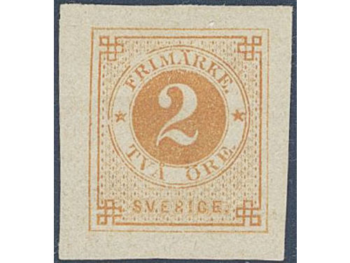 Sweden. Facit 40 P (*), 2 öre imperforated die/plate proof without posthorn. Very weak crease. Signed and certificate by Sjöman