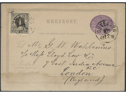Sweden. Facit 18b, bKe2CI brev, 4 öre black grey-black on postcard sent from GÖTEBORG 22.12.1878 to Great Britain. The pc slightly climate affected at bottom. Scarce combination and very rare shade on cover. Certificate HOW 3,3,4,3 (2016). Ex. Ahlström. SEK12000
