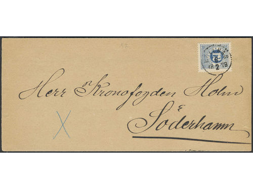 Sweden. Facit 32b brev, 12 öre on newspaper banner sent as 4-fold printed matter from BOLLNÄS 6.2.1879 to Söderhamn. Very scarce postage, 2K (two recorded) according to Ferdén. Superb.