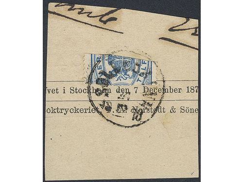 Sweden. Official Facit Tj5 stpl, 12 öre quartered in order to pay the pronted matter rate 3 öre on cut piece cancelled SOLLEBRUNN 24.12.1878. Certificate HOW 'Very fine' (2001). UNIQUE – the only recorded usage of a quadrisected stamp in Sweden.