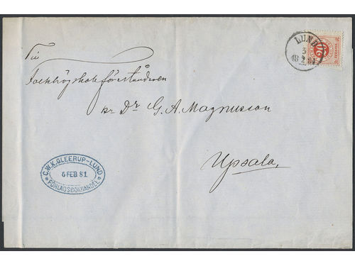 Sweden. Facit 33c brev, 20 öre on newspaper banner sent as 5-fold printed matter from LUND 5.2.1881 to Uppsala. Very scarce postage, 2K (two recorded) sent during the Circle type period according to Ferdén. Ex. Klassisk Filateli 1991.