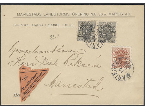 Sweden. Official Facit Tj40, 49 brev, 2×1+15 öre on local printed matter sent with cash on delivery within MARIESTAD 10.10.18. Short postage period with scarce rate. Ex. Philea 2014.