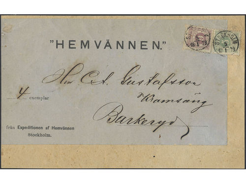 Sweden. Facit 20k, 30a brev, 5+6 öre as mixed franking on large part of newspaper wrapper of 9th level sent from STOCKHOLM 5.1.1878 to Barkeryd. UNIQUE rate during this period and unusually early usage according to Ferdén, in which work the item is also depicted.