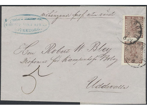 Sweden. Facit 11e2 brev, 2×30 öre (pair) on 5-fold sample without value cover sent from 'Adolph Meywer Commissions Affär', GÖTEBORG 14.8.1867 to Uddevalla. UNIQUE item with the highest recorded rate for samples during this period. Certificate HOW 3(3,3)(2,2)3 (2017).