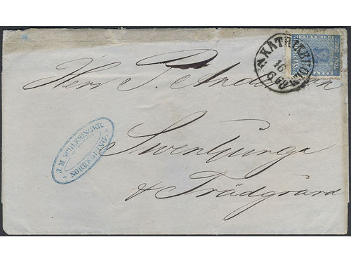 """Sweden. Facit 9v6 brev, 12 öre blue, """"Exclamation mark"""" variety (pos 53 in late VI) on letter with notation"""