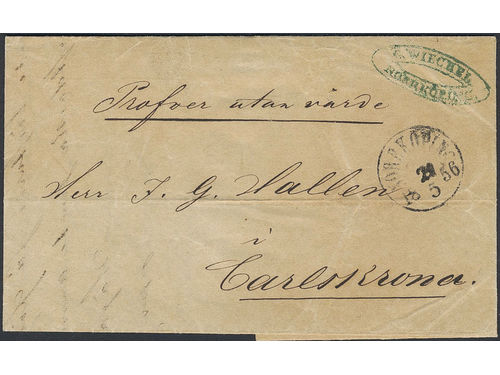 Sweden. Brev, Cashpaid sample of no value sent from NORRKÖPING 21.5.1856 to Karlskrona. Unusually early and most likely the only known sample sent during the skilling banco stamp period.