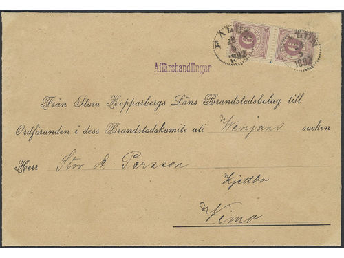 Sweden. Facit 44b brev, 2×6 öre on commercial papers sent from FALUN 28.5.1892 to Vimo. Only a very few commercial papers are recorded during the Circle type period. Depicted in Postryytaren 41 and Svensk Posthistoria. Ex. Kihlströms 1977. Certificate HOW 3(3,3)(3,3)3 (2013).