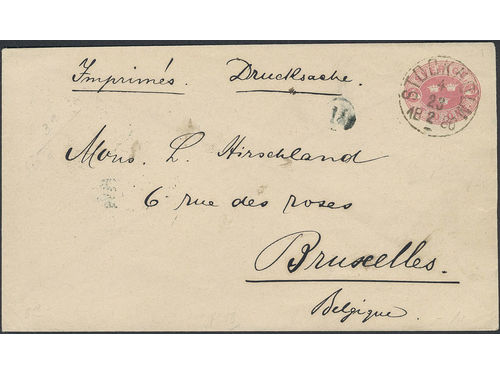 Sweden. Postal stationery Frankokuvert Facit Fk3A brev, Stamped envelope 10 öre sent as printed matter from STOCKHOLM 23.2.1886 to Belgium, with arrival pmk. Very scarce, only recorded such usage to Belgium according to Ferdén. Ex. Philea 2014.