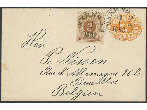 Sweden. Facit 41c, Fk7A brev, 3 öre on stamped envelope 2 öre, sent as printed matter from PKXP No 5A 1.1.1892 to Belgium. Arrival pmk BRUXELLES 4.JANV.1892. Only two recorded pm's during the ph period according to Ferdén, in which work the item is also depicted. Superb.