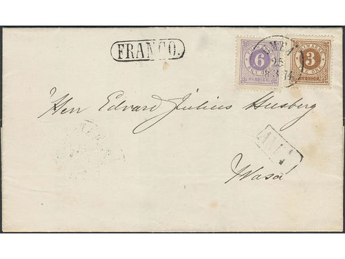 Sweden. Facit 17e, 20d brev, 3+6 öre on printed matter sent pre-GPU from UMEÅ 25.3.1874 via HAPARANDA 28.3.1874 to Finland. Arrival pmk ANK 1.4. One stamp with two missing perfs, otherwise superb. Shade by OP. SEK20000