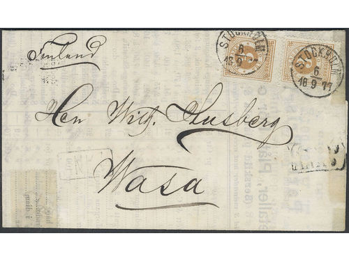 Sweden. Facit 17h brev, 2×3 öre on printed matter sent from STOCKHOLM 6.9.1877 via ÅBO 7.9.77 to Finland. Arrival pmk's in both grotesque (7.9) and antiqua (10.9). Slightly strengthened with tape on the inside (one strip of tape removed. The combination to Finland 2K (two recorded) according to Ferdén. SEK5000
