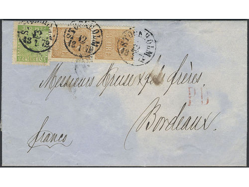 Sweden. Facit 7c2, 14Bf brev, 2×3+5 öre on printed matter sent from STOCKHOLM 12.1.1872, direct in sealed letter pouch, to France. Arrival pmk BORDEAUX (32) 18.JANV.72. Very scarce rate, only two recorded. certificate HOW 3(3,3,4)3,3 (1998). SEK55000