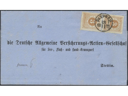 Sweden. Facit 28a brev, 2×3 öre on very fine printed matter sent from PKXP No 2 18.11.1877 to Germany. Arrival pmk STETTIN 1 19.11.77. Scarce combination.