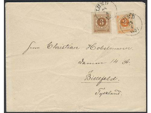 Sweden. Facit 40c, 41 brev, 2+3 öre on printed matter sent from LUND 25.4.93 to Germany. Transit K. OMB.3 25.4.93. Beautiful and scarce combination, 3K (three recorded) according to Ferdén, in which work the item is also depicted.