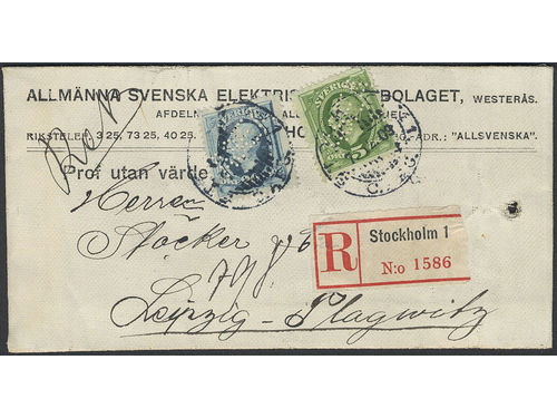 Sweden. Facit 52, 56 brev, 5+20 öre with perfins ASEA on sample of no value bag sent registered from STOCKHOLM1 7.12.09 to Germany. Very scarce type of mail, with an UNIQUE combination to Germany according to Ferdén. Depicted in Postryttaren 1991 and Svensk Posthistoria 1995. Ex. Göta 1982.