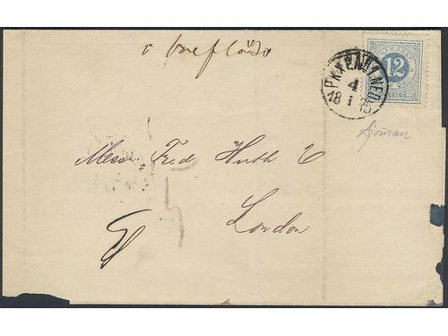 """Sweden. Facit 21j brev, 12 öre on very fine, non approved printed matter sent insufficiently prepaid to Great Britain. Transit PKXP Nr 2 5.1.1875. Notations """"Circular"""" and """"i breflåda"""" (in letter box). Sufficiently prepaid for route via Germany, but not via Gothenburg or Denmark. Postage due notation """"5"""" (d). Certificate and signed Sjöman (1972). UNIQUE item. Ex. Göta 1973 and Anteba 1990."""