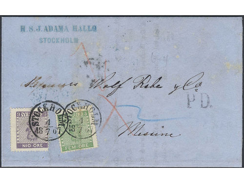 Sweden. Facit 8d, 7b2 brev, 5+9 öre on printed matter sent from STOCKHOLM 4.7.1867 to Italy. Transit STRALSUND BERLIN 6.7 and arrival pmk MESSINA 3S 15.LUG.67. The cover have been renovated and with some imperfections. UNIQUE rate to Italy. Depicted in