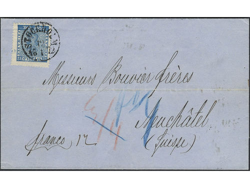 Sweden. Facit 9c3 brev, 12 öre on printed matter sent from STOCKHOLM 12.1.1872 to Switzerland. Transit KIEL HAMBURG 15.1 and arrival pmk NEUCHATEL 17.1.72. Very scarce rate and single franking. Only two recorded. Certificate Lasse Nielsen (1991). SEK50000