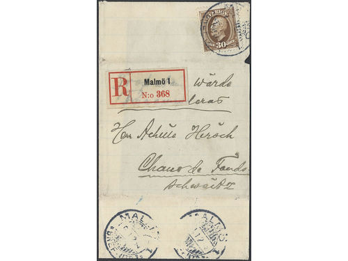 Sweden. Facit 58 brev, 30 öre on registered sample of no value cover sent from MALMÖ 9.12.xx to Switzerland. Registered samples are very scarce of which this is the only recorded example to Switzerland according to Ferdén.