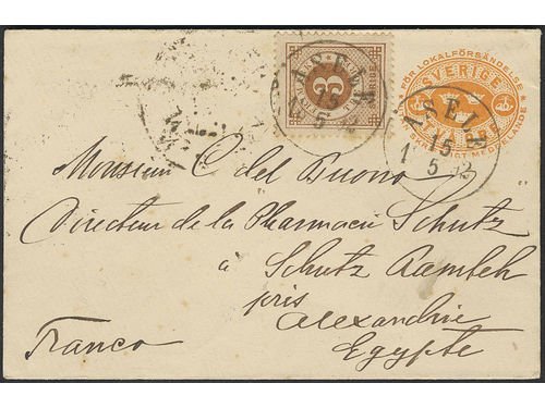 Sweden. Facit 41a, Fk7A brev, 3 öre on stamped envelope 2 öre, sent from ÅSELE 15.5.92 to Egypt. Transit ALEXANDRIA 23.V.92 and PORT SAID 25.V.92, plus arrival pmk RAMLE SCHUTZ 27.MA.92. The EARLIEST recorded pm to Egypt and the only one during the Circle type period. Superb. Certificate HOW 4, 4,4, 4 (1998). Ex. Høiland 1998 and Frimärkshuset 2012.