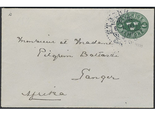 Sweden. Postal stationery Frankokuvert Facit Fk10A brev, Stamped envelope 5 öre sent from STOCKHOLM 6.1.00 to Morocco. Three recorded pm's to Morocco, of which this is the earliest one, according to Ferdén.