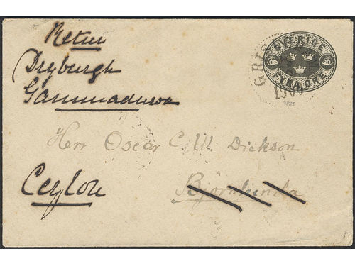 Sweden. Postal stationery Frankokuvert Facit Fk9A brev, Stamped envelope 4 öre sent from GRISLEHAMN 29.12.00 to Björnlunda, then forwarded insufficiently prepaid via TRELLEBORG-SASSNITZ 142B 2.1.01 to Ceylon. Arrival pmk GAMMADUVA 22.JA.01. Sent undetected without postage due. The ONLY recorded pm to Ceylon according to Ferdén.