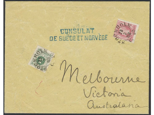 Sweden. Facit 43c, 45 brev, 5+10 öre on an exceptional printed matter sent from STOCKHOLM 28.2.88 to Victoria. Arrival pmk MELBOURNE AP 12 88. The only recorded pm rate 15 öre to any non-UPU destination. An important show piece. Ex. Beckeman.