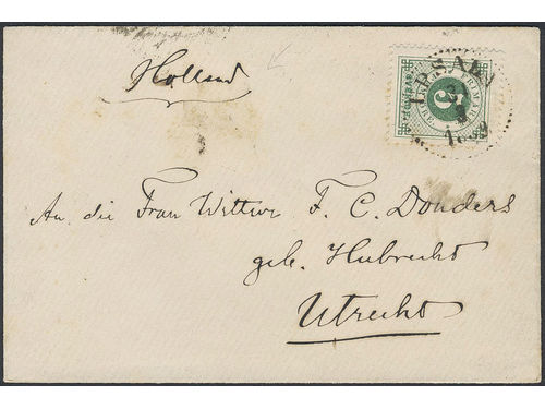 Sweden. Facit 43 brev, 5 öre on printed matter sent from UPSALA 31.3.1889 to the Netherlands. Arrival pmk UTRECHT 3.APR.89. The ONLY recorded 5öre rate pm to the NL during the the Circle type period according to Ferdén.