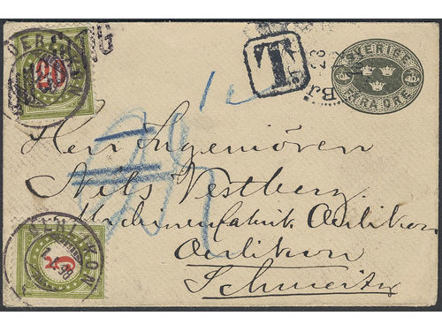 Sweden. Postal stationery Frankokuvert Facit Fk9A brev, Stamped envelope 4öre intended for domestic printer matter mail sent insuffucuently prepaid from BJERESHÖG 28.12.1897 to Switzerland. Arrival pmk OERLIKON 1.1.98 and postage due markT. Postage due first paid with 20rappen but then corrected to 5rp, for which reason the first stamp applied was cancelled UNGÜLTIG. Interesting item.