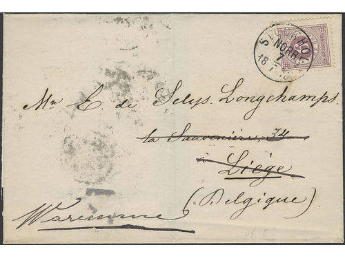 Sweden. Facit 31b brev, 6 öre on printed matter sent from STOCKHOLM NORR 7.7.1878 to Belgium. Forwarded from LIEGE 19.JUIL.1878 to WAREMME 10.JUIL.1878. The ONLY recorded 6 öre rate to Belgium during the Circle type 13 period according to Ferdén.