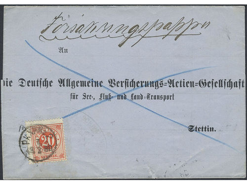 Sweden. Facit 33 brev, 20 öre on commercial paper cover sent from PKXP No 2 1.2.1880 to Germany. Arrival pmk STETTIN 1 9.2.80. Very scarce type of mail sent to abroad this early, only four recorded to Germany during the Circle type period accordig to Ferdén.