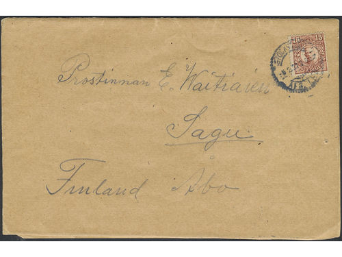Sweden. Facit 84 brev, 15 öre on braille letter (blindskriftsbrev) sent from STOCKHOLM 8.2.21 to Finland. Very scarce type of mail sent to abroad – only a few known.