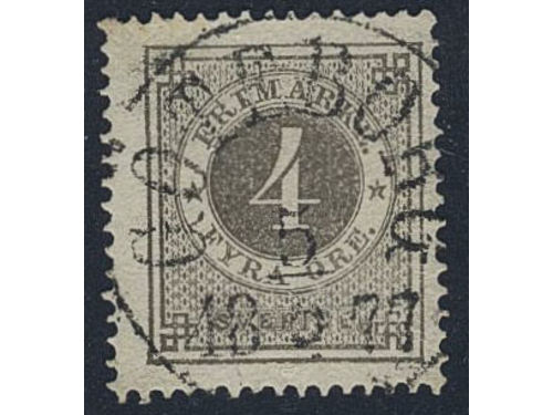 Sweden. Facit 18a stpl, 4 öre dark grey. EXCELLENT cancellation GÖTEBORG 5.5.1877. Scarce stamp in this quality. Certificate HOW 4, 3, 5 (2018).
