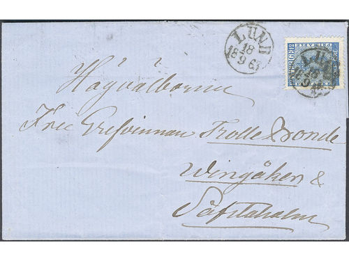 Sweden. Facit 9e2 brev, 12 öre ultramarine blue, from THE PROOF PLATE (delivery (print) 43), on beautiful cover sent from LUND 18.9.1863 to Vingåker. Scarce and sought-after.