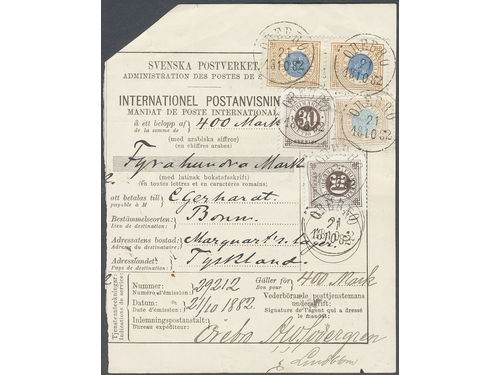 Sweden. Facit 27d, 35d, 38c brev, 2x30 öre + 1 rdr + 2x1 kr as MIXED FRANKING on international money order, with the highest allowed amount 400 Mark, hence also the HIGHEST RECORDED money order fee paid to Germany until the 1940s. Sent from ÖREBRO 21.10.1882 to BONN 24.10.82. The form with two small tears of none importance for this very interesting and UNIQUE EXHIBITION item. SUPERB according to certificate HOW 4 (3,3,4,4,4) (4x5) 5 (1999). Ex. Lars-Tore Eriksson 1999.