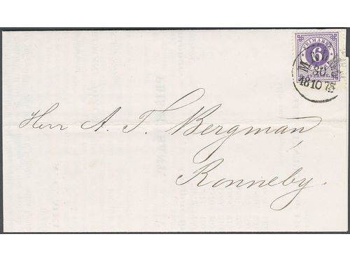 Sweden. Facit 20e brev, 6 öre reddish violet in wonderful colour on printed matter sent from MALMÖ 30.10.1873 to Ronneby. Some perf. imperfections, nevertheless very beautiful. SEK2500