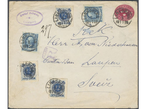 Sweden. Facit 50, 56 brev, Interesting 10 öre red  postal  stationery also franked with 10/12 öre x 3 and 20 öre Oscar x 2 = 80 öre sent by registered cover to Switzerland 5.11.94. This combinatiobn is not listed in Ferdén.